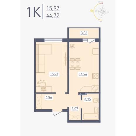 Вариант №4880, 1-комнатная квартира в жилом комплексе