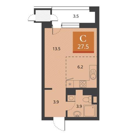 Вариант №5675, 1-комнатная квартира в жилом комплексе