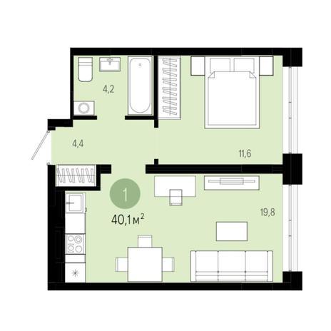 Вариант №5998, 2-комнатная квартира в жилом комплексе