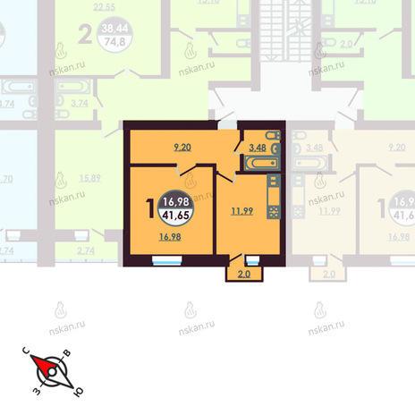 Вариант №423, 1-комнатная квартира в жилом комплексе Ключевой