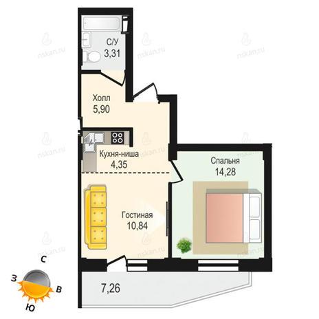 Вариант №1342, 2-комнатная квартира в жилом комплексе Крымский