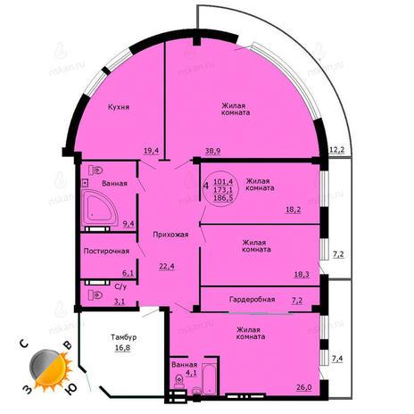 Вариант №788, 4-комнатная квартира в жилом комплексе Дождь