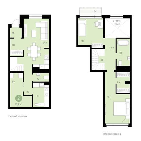 Вариант №4743, 3-комнатная квартира в жилом комплексе Европейский Берег