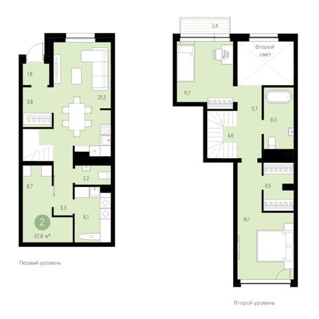 Вариант №4743, 3-комнатная квартира в жилом комплексе