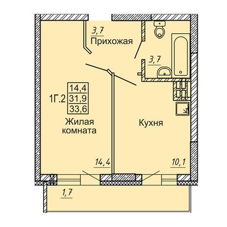 Вариант №4127, 1-комнатная квартира в жилом комплексе