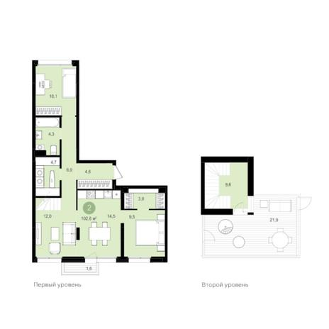 Вариант №5979, 2-комнатная квартира в жилом комплексе
