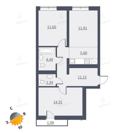 Вариант №1644, 3-комнатная квартира в жилом комплексе