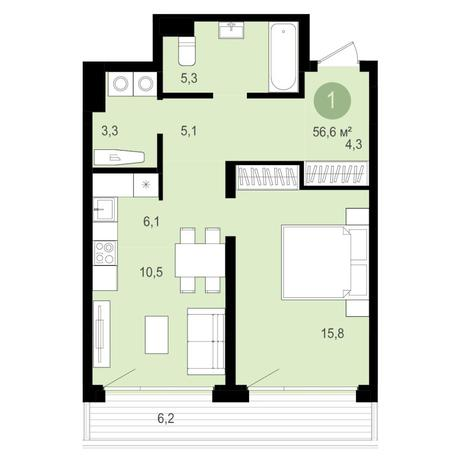 Вариант №4359, 2-комнатная квартира в жилом комплексе