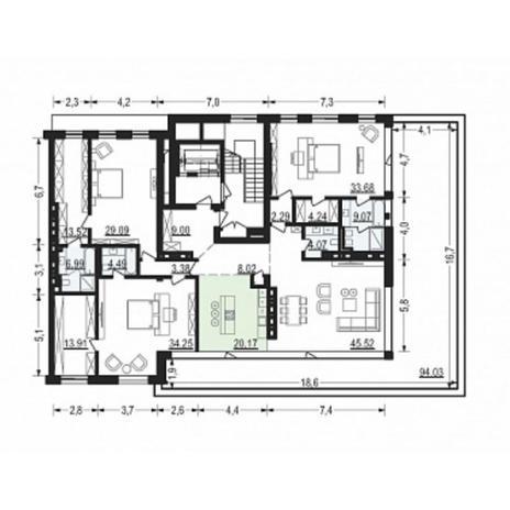 Вариант №4902, 4-комнатная квартира в жилом комплексе Жуковка