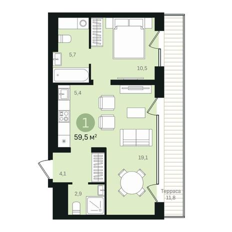 Вариант №6335, 2-комнатная квартира в жилом комплексе