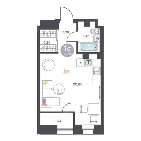 Вариант №5123, 1-комнатная квартира в жилом комплексе