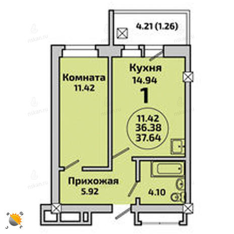 Вариант №1998, 1-комнатная квартира в жилом комплексе