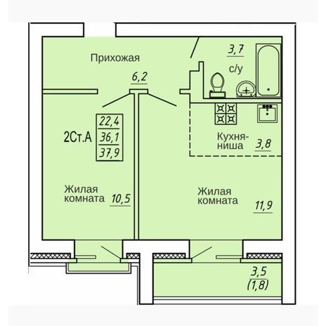 Вариант №4331, 2-комнатная квартира в жилом комплексе Свобода