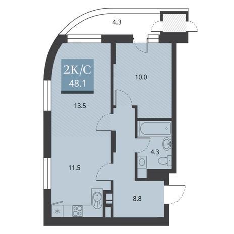 Вариант №5664, 2-комнатная квартира в жилом комплексе