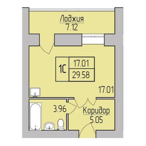 Вариант №5364, 1-комнатная квартира в жилом комплексе