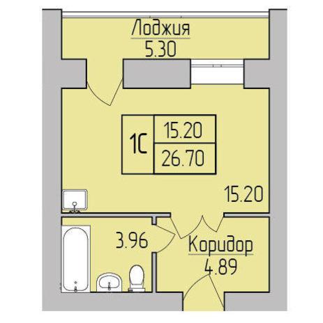 Вариант №3852, 1-комнатная квартира в жилом комплексе Радуга Сибири