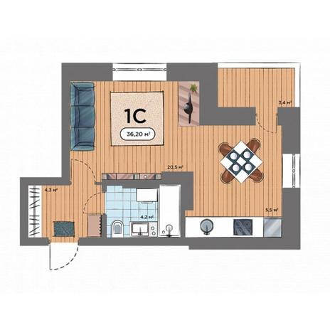 Вариант №6578, 1-комнатная квартира в жилом комплексе