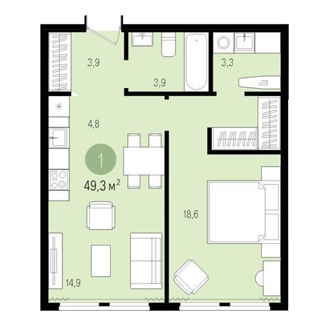 Вариант №4982, 2-комнатная квартира в жилом комплексе Пшеница