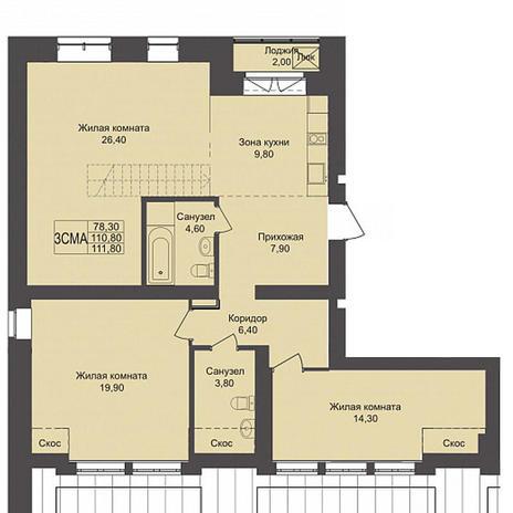 Вариант №3794, 3-комнатная квартира в жилом комплексе