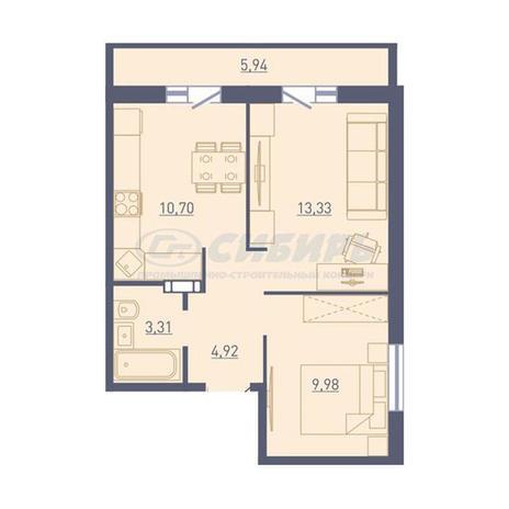 Вариант №3736, 2-комнатная квартира в жилом комплексе Крымский