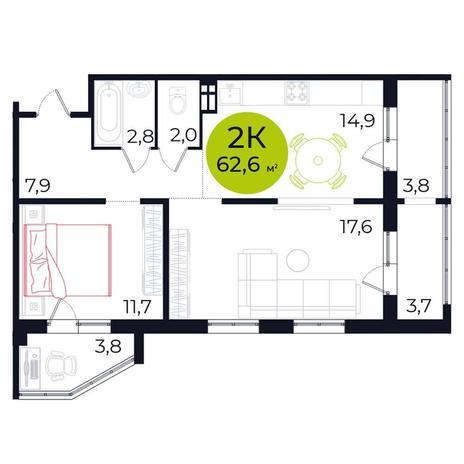 Вариант №5480, 2-комнатная квартира в жилом комплексе