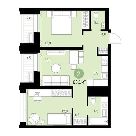 Вариант №6134, 3-комнатная квартира в жилом комплексе
