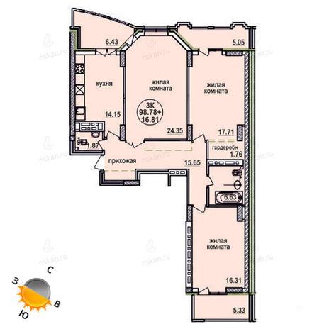 Вариант №627, 3-комнатная квартира в жилом комплексе Заельцовский