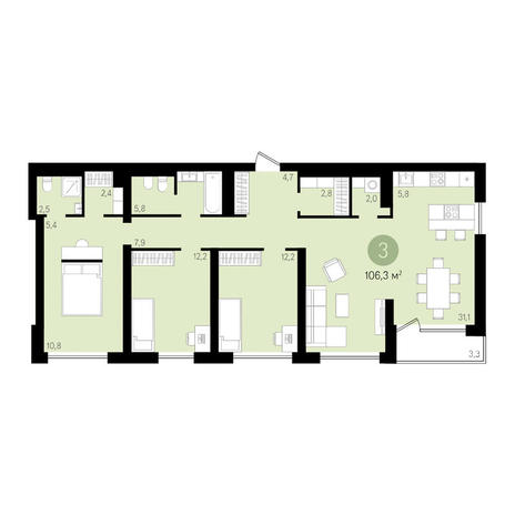 Вариант №3640, 4-комнатная квартира в жилом комплексе Европейский Берег