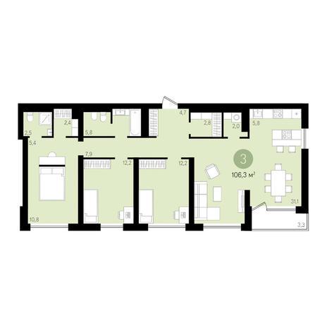 Вариант №3640, 4-комнатная квартира в жилом комплексе