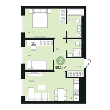 Вариант №6363, 3-комнатная квартира в жилом комплексе