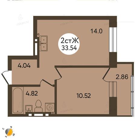 Вариант №2116, 2-комнатная квартира в жилом комплексе Тихвинский квартал