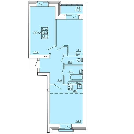 Вариант №4004, 3-комнатная квартира в жилом комплексе
