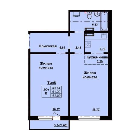 Вариант №3170, 2-комнатная квартира в жилом комплексе Европейский Берег