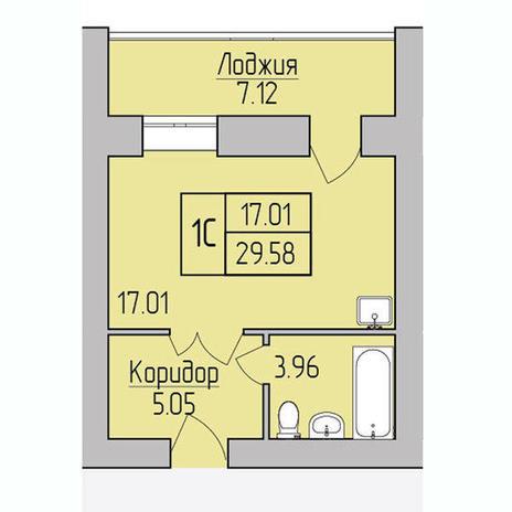Вариант №3851, 1-комнатная квартира в жилом комплексе