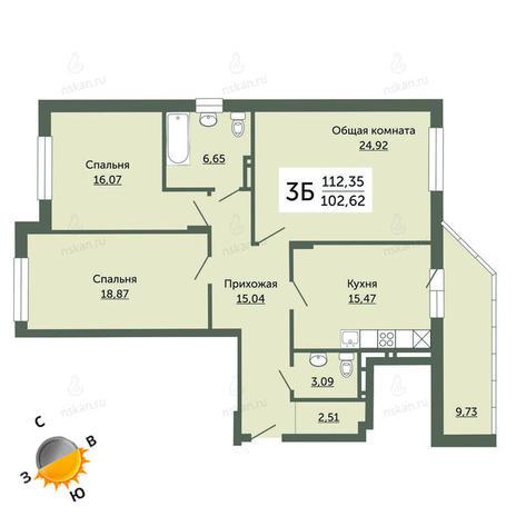 Вариант №687, 4-комнатная квартира в жилом комплексе