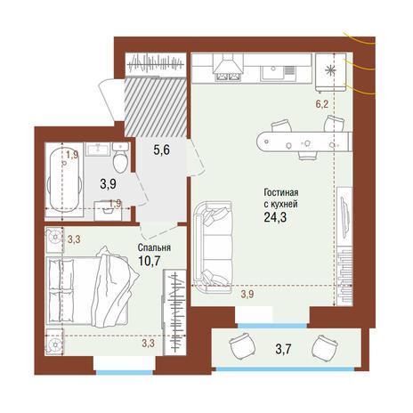 Вариант №4208, 2-комнатная квартира в жилом комплексе