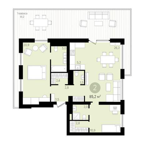 Вариант №3445, 3-комнатная квартира в жилом комплексе Квартал на Никитина