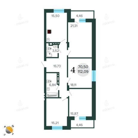 Вариант №2260, 5-комнатная квартира в жилом комплексе