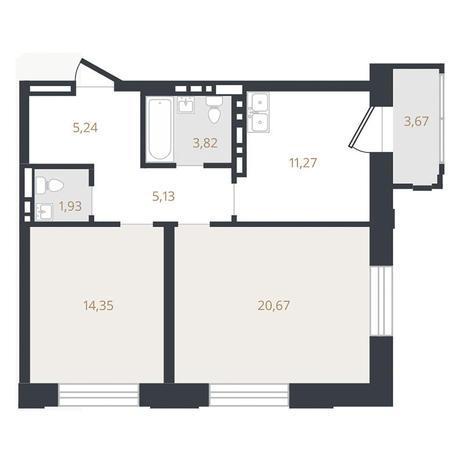 Вариант №3322, 2-комнатная квартира в жилом комплексе Пшеница