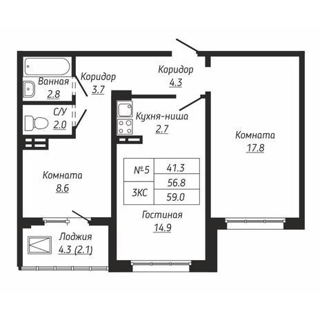 Вариант №6663, 3-комнатная квартира в жилом комплексе