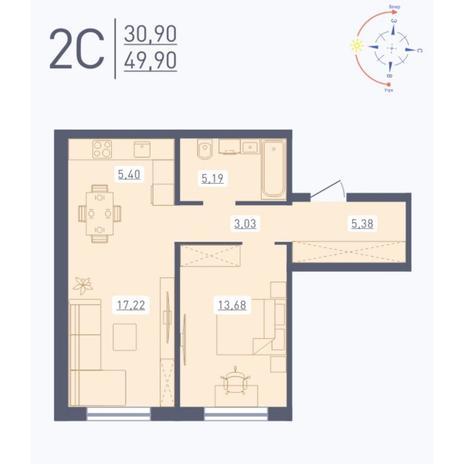 Вариант №5581, 2-комнатная квартира в жилом комплексе