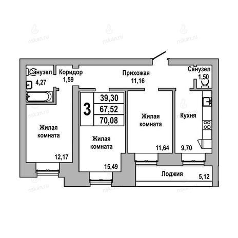 Вариант №1033, 3-комнатная квартира в жилом комплексе ГринАрт