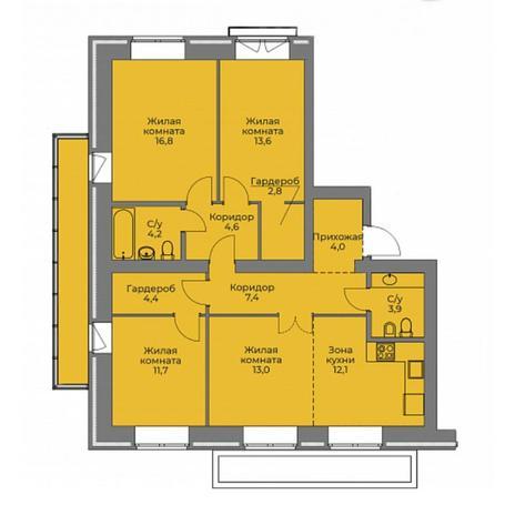 Вариант №4398, 4-комнатная квартира в жилом комплексе Бульварный переулок
