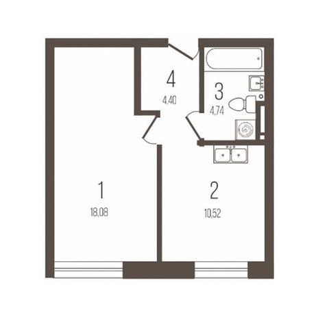 Вариант №3643, 1-комнатная квартира в жилом комплексе