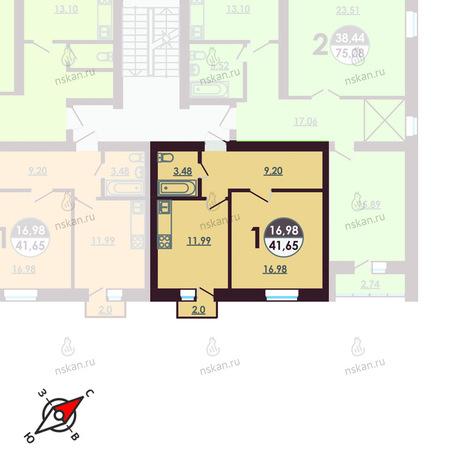 Вариант №415, 1-комнатная квартира в жилом комплексе Ключевой