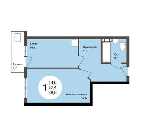 Вариант №4859, 1-комнатная квартира в жилом комплексе Новые Снегири