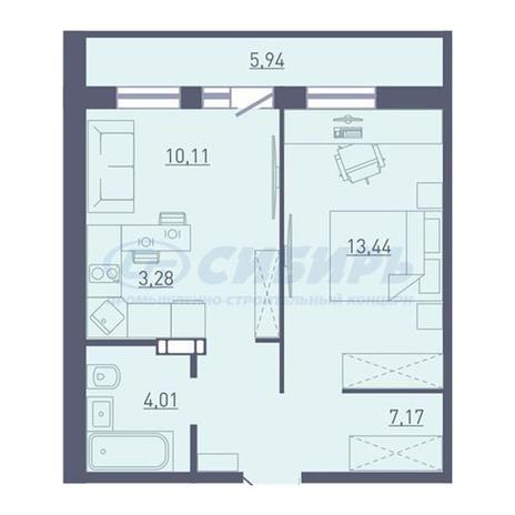 Вариант №3744, 2-комнатная квартира в жилом комплексе Радуга Сибири