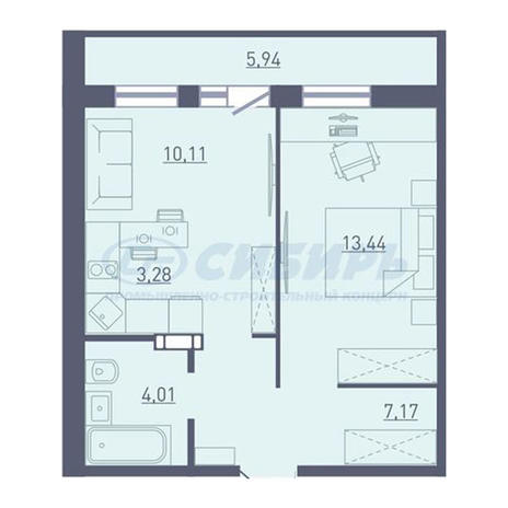 Вариант №3744, 2-комнатная квартира в жилом комплексе
