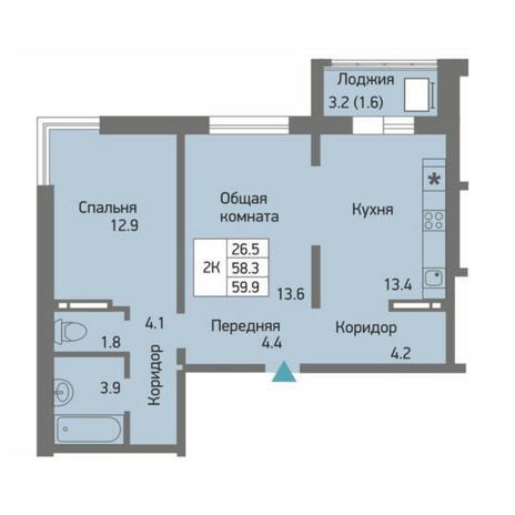 Вариант №4518, 2-комнатная квартира в жилом комплексе Акварельный 3.0