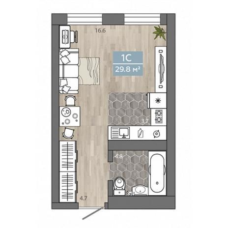 Вариант №4535, 1-комнатная квартира в жилом комплексе